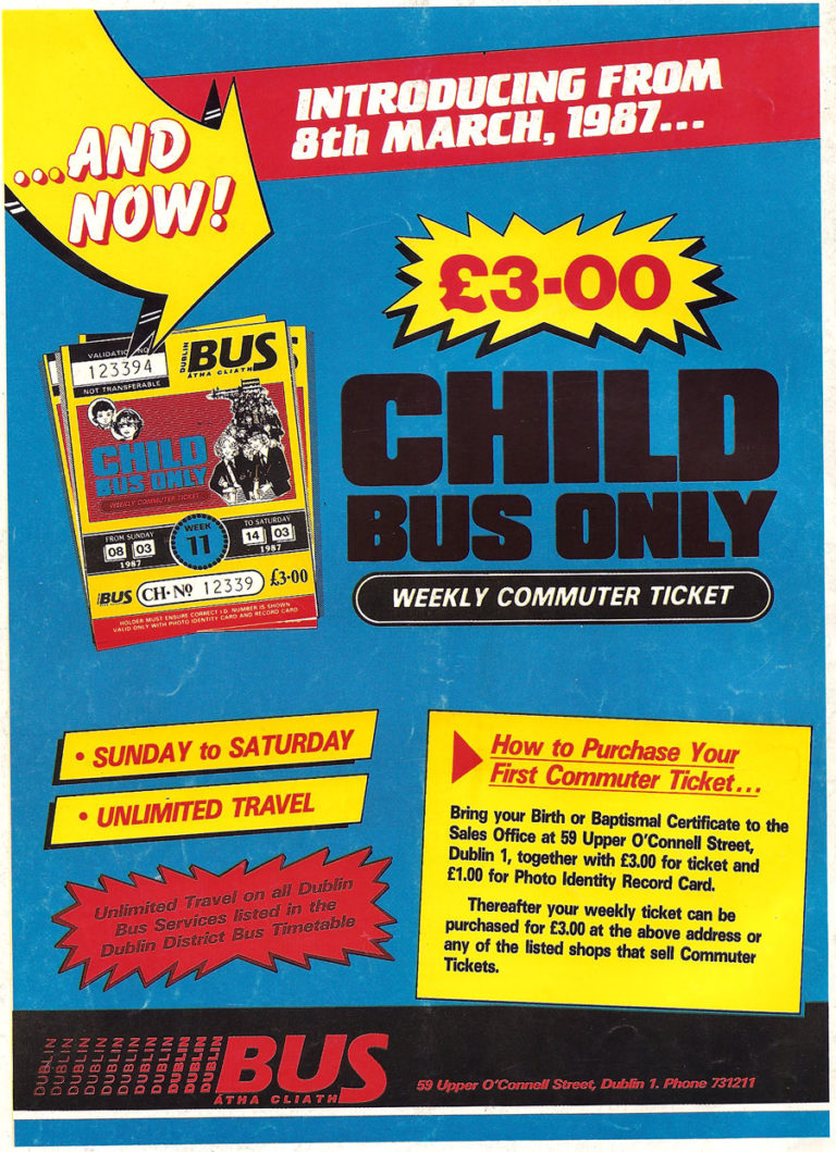 Old Adverts #11 – Dublin Bus Child Only Ticket, 1987