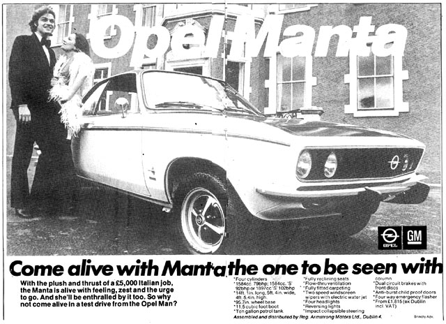 Old Adverts #49 – Opel Manta 1974