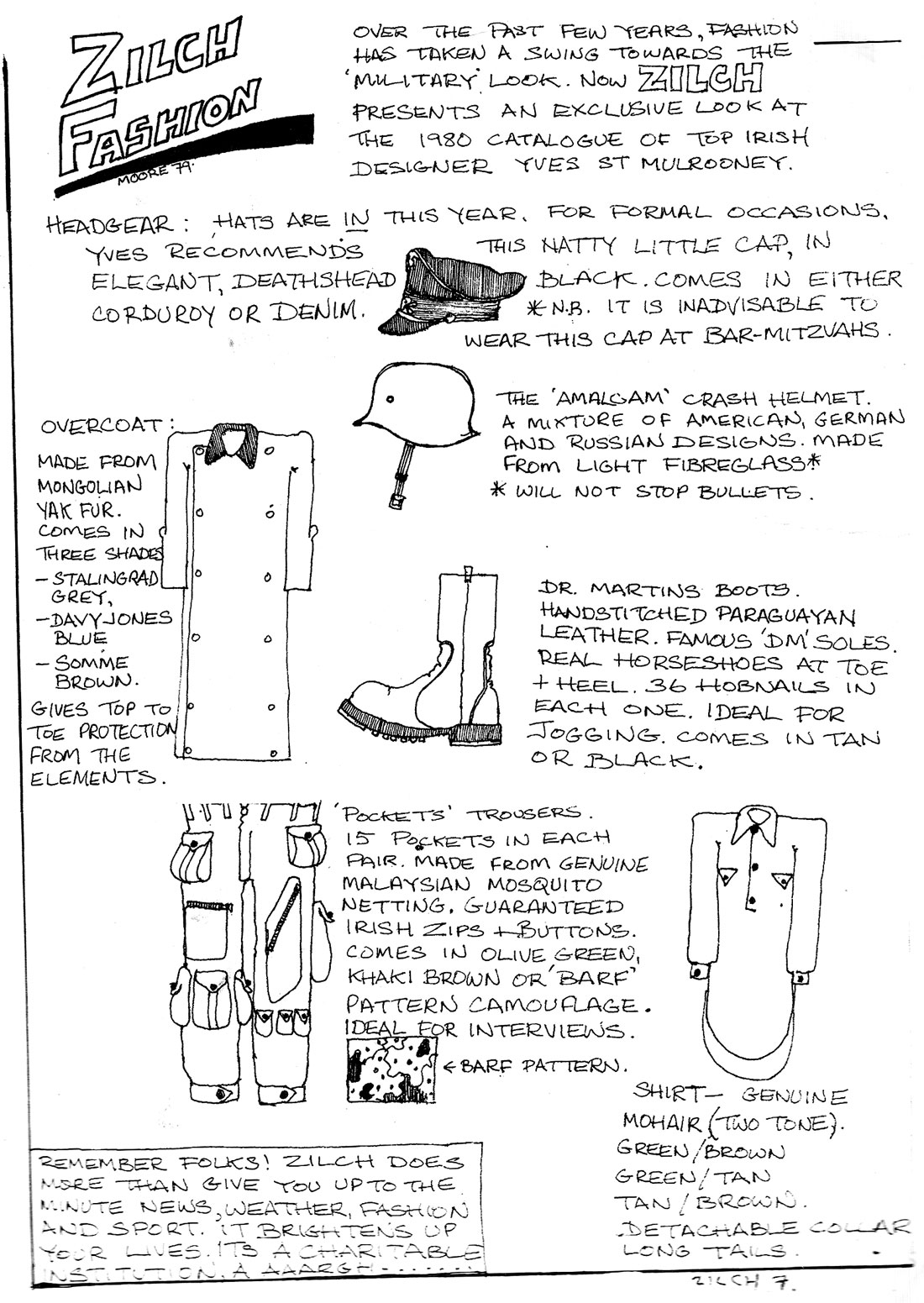 zilch comic 1980 fashion page