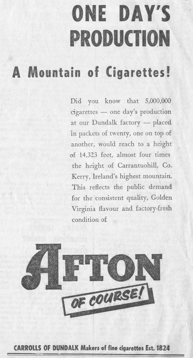 advert 1956 fton made by Carrolls dundalk