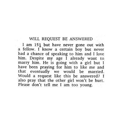 Will Request Be Answered - 1971