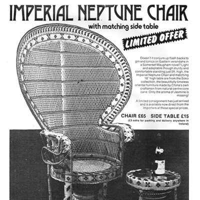1974 Full Page Advert for Wicker Chair