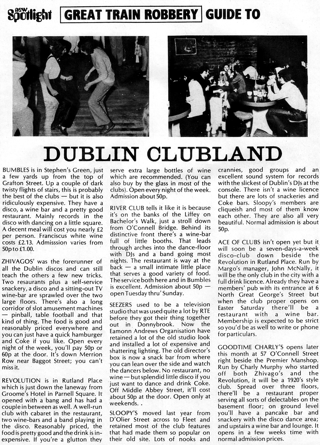 Dublin Nightclubs-1972 - Bubbles