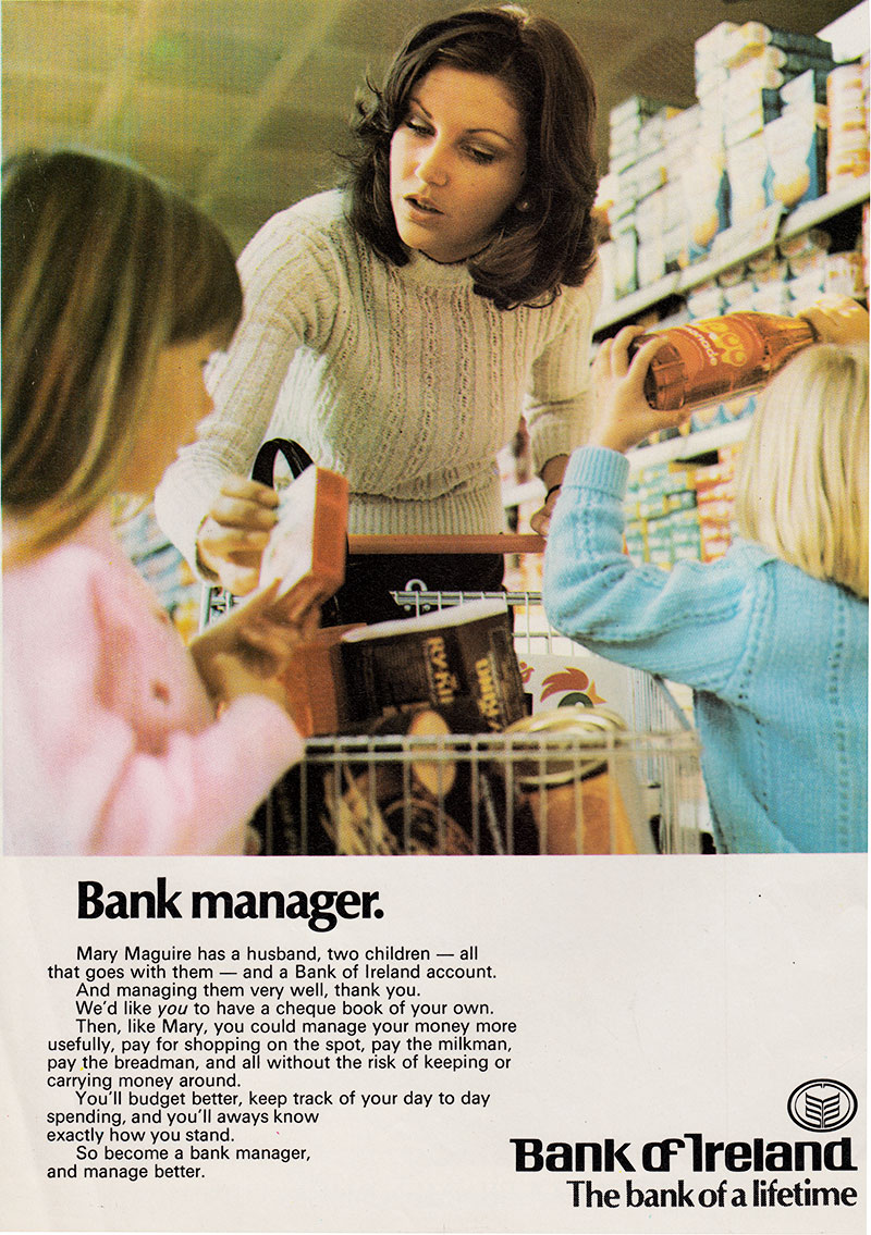 bank of ireland advert for cheques 1974