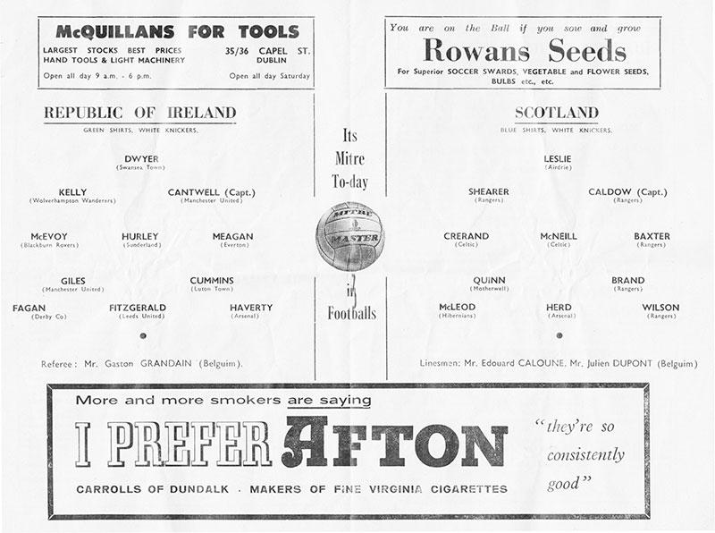 ireland v scotland teams 1961